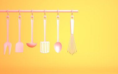 Pink Kitchenware on yellow background