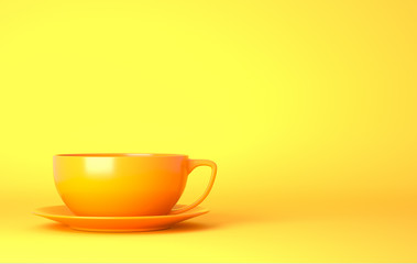 Yellow cup on the yellow background