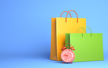 Two Shopping Bags and alarm clock