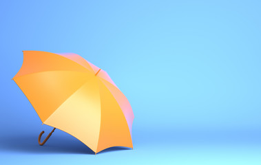 Yellow umbrella on blue background