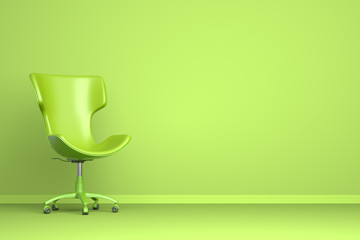 Green chair on the green background