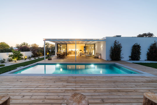 Modern villa with pool and garden