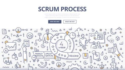 Scrum Process Doodle Concept