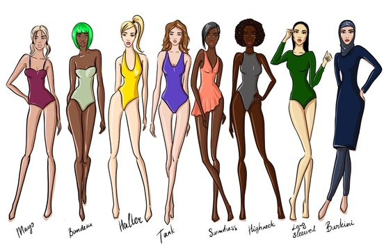 set of female swimsuit illustration. Various types of women beach clothes. Fashion sketch.
