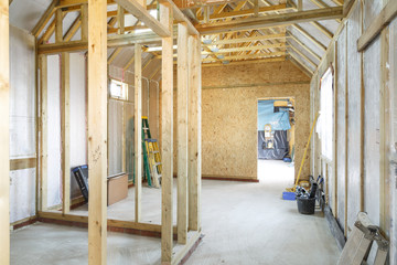 Timber frame house construction