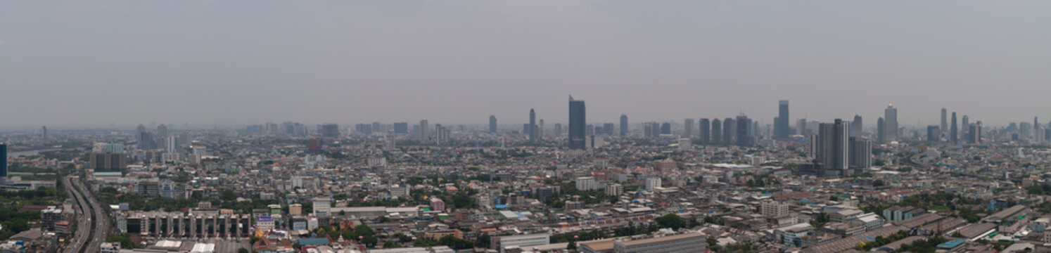 panorama cityscape of Bangkok skyline in smock air pollution