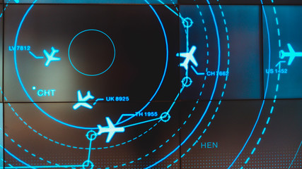 Simulation screen showing various flights for transportation and passengers. Wall mural