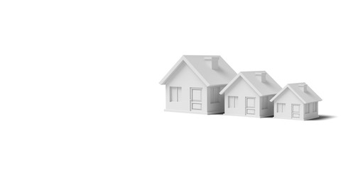Three White empty houses on a yellow background abstract image. Minimal concept building business. 3D render.