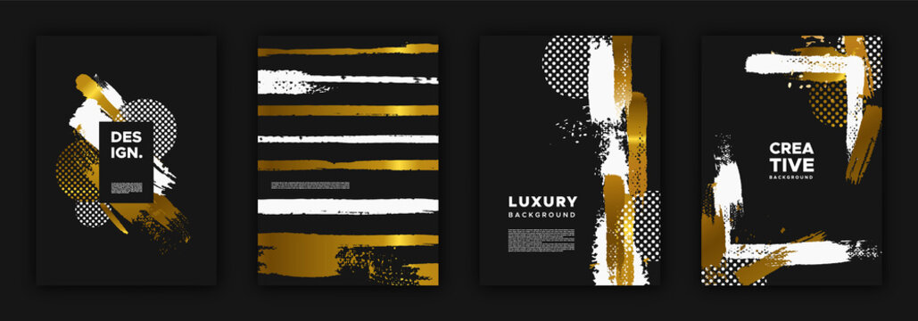 Gold and black luxury background design set