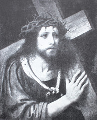 Christ with a cross by andrea Solario in the vintage book Leonardo da Vinci by A.L. Volynskiy, St. Petersburg, 1899