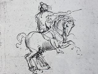 The sketch of the horseman by  Leonardo da Vinci in the vintage book Leonardo da Vinci by A.L. Volynskiy, St. Petersburg, 1899