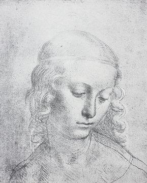 The sketch of young woman by Leonardo da Vinci in the vintage book Leonardo da Vinci by A.L. Volynskiy, St. Petersburg, 1899