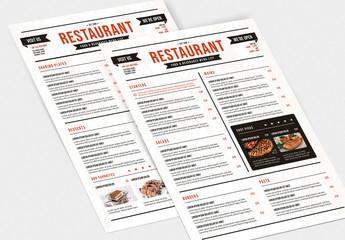 Rustic Restaurant Menu Layout