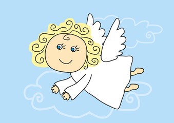 Cute angel flies on a blue background. Vector illustration.