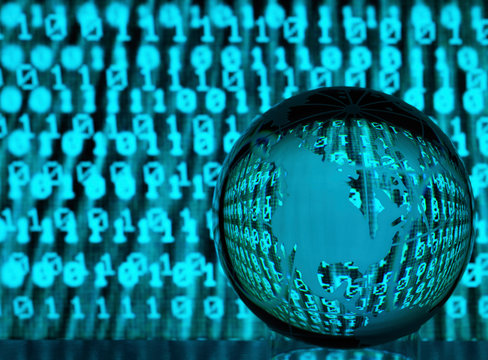 Global Cyber Crime, Glass globe illustrating the US with reflections of a infected cyber attack