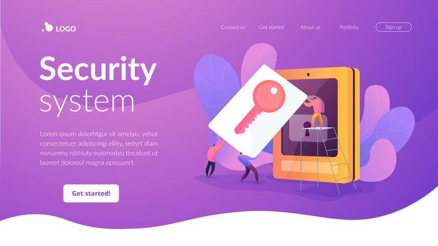 Security access card, access control key, security system with automatic access card concept. Website homepage header landing web page template.