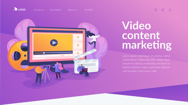 Marketers creating and distributing video content, tiny people. Video content marketing, video marketing strategy, digital marketing tool concept. Website homepage header landing web page template.