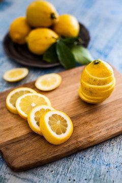 Lemon slices on wooden board