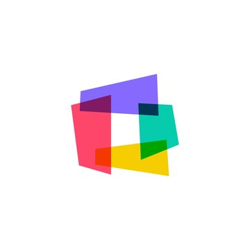 abstract square rectangle overlapping logo vector icon illustration