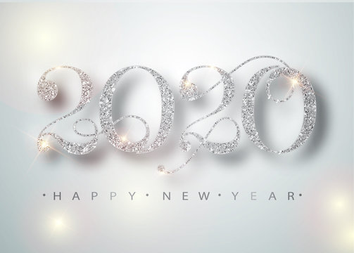 Happy New Year 2020 Greeting Card with Silver Numbers and Confetti Frame on White Background. Vector Illustration. Merry Christmas Flyer or Poster Design. Vector 10 EPS.