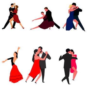 Set of Tango dancers isolated on white. Vector.
