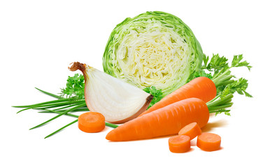 Fototapeta Vegetable set: cabbage, onion, carrot, scallion isolated on white background. Package design element with clipping path obraz