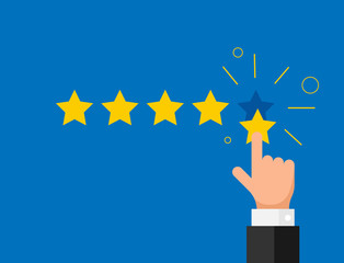 Online feedback reputation quality customer review concept flat style. Businessman hand finger pointing five gold star rating. Vector illustration