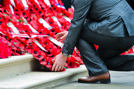 Remembrance Sunday service at Belfast City Hall Cenotaph.