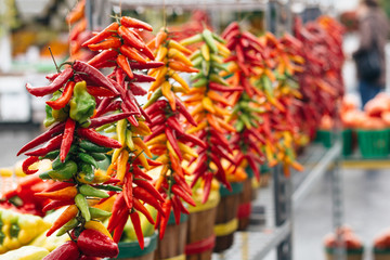 red chili peppers at the market