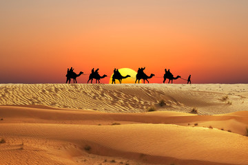 Caravan of camels in Arabian Desert with people silhouettes at sunset