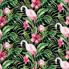 Hand drawn watercolor tropical bird flamingo seamless pattern . Exotic rose bird illustrations, jungle tree, brazil trendy art. Perfect for fabric design. Aloha collection.