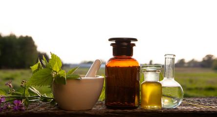 Alternative medicine - herbs and oil.
