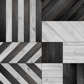 Different types of patterns for parquet floors. Texture of black and white parquet floor.