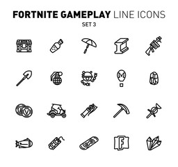 Fortnite epic game play outline icons. Vector illustration of combat military facilities. Linear flat design. Set 3 of black icons for Fortnite.