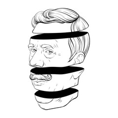 Obraz Vector hand drawn illustration of old man with moustache isolated. Creative tattoo artwork. - fototapety do salonu