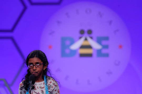 Nithika Rangan of Elk Grove, California concentrates as she spells during the third round of the 92nd annual Scripps National Spelling Bee in National Harbor