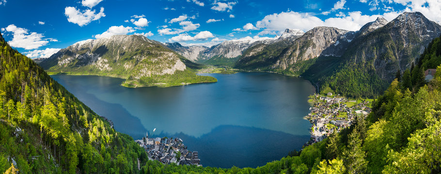 Alps mountains above the famous Hallstatt village, Austria