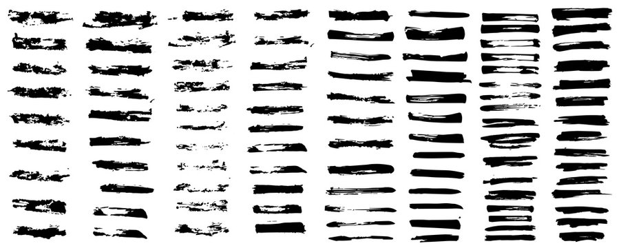 Brush strokes bundle, big isolated collection. Diagonal grunge design elements. Ink splatters. Vector paintbrush set. Long text boxes. Dirty distress texture banners. Grunge painted objects. Vector