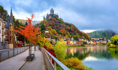 Wall Mural - Cochem town in autumn colors, Moselle valley, Germany