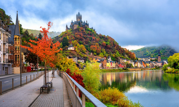 Cochem town in autumn colors, Moselle valley, Germany