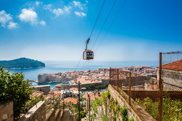 View of Dubrovnik city and cable car taken from Mount Srd Wall mural
