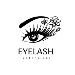 Eyelash extension logo. Makeup with flowers. Vector illustration in a modern style