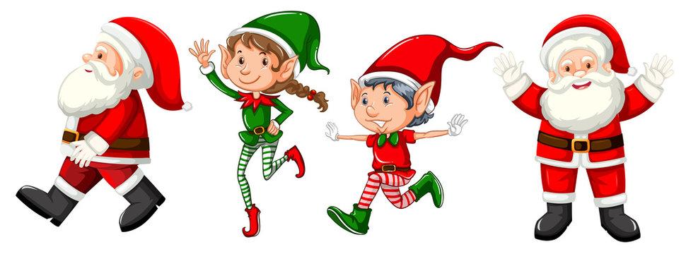 Set of santas and elvs