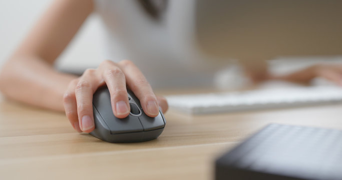 Woman work at office with using desktop computer