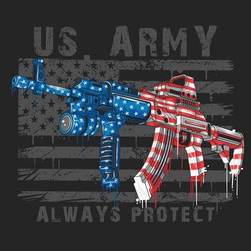 AMERICA USA FLAG WITH MACHINE GUN VECTOR EDITABLE LAYERS