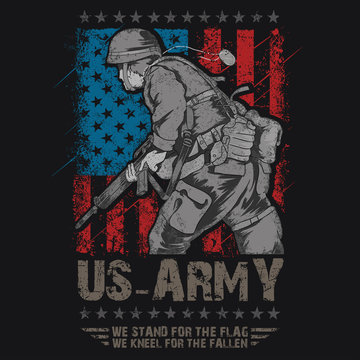 US ARMY. UNITED STATES SOLDIER WITH WEAPON AND USA FLAG VECTOR EDITABLE LAYERS