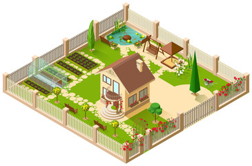 Private country house and garden. 3d isometric illustration