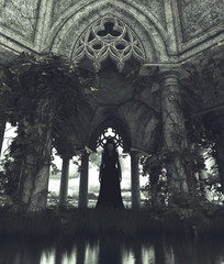 Ghost woman standing in gothic carved stone building,3d rendering