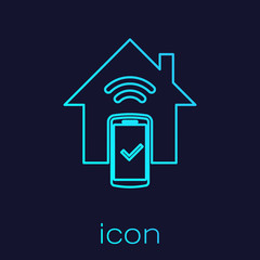 Turquoise Smart home - remote control system line icon isolated on blue background. Vector Illustration