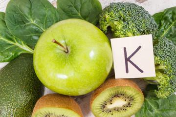 Fototapeta Natural ingredients as source potassium, vitamin K, minerals and fiber obraz